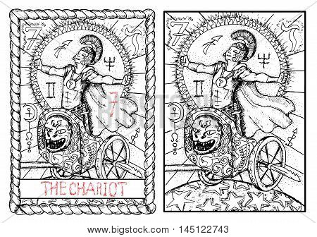 The chariot. The major arcana tarot card, vintage hand drawn engraved illustration with mystic symbols. Warrior or conqueror wearing costume of roman soldier celebrating the victory