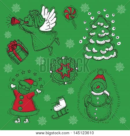 Christmas and New Year design set with Santa, snowman, angel, conifer and patterns, with hand drawn elements