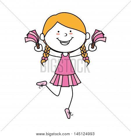 girl cartoon cheerleader kid happy isolated design vector illustration