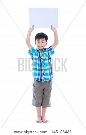 Handsome Asian Boy Showing Blank Sign Or Blank Paper, Studio Shot,  Isolated On White.