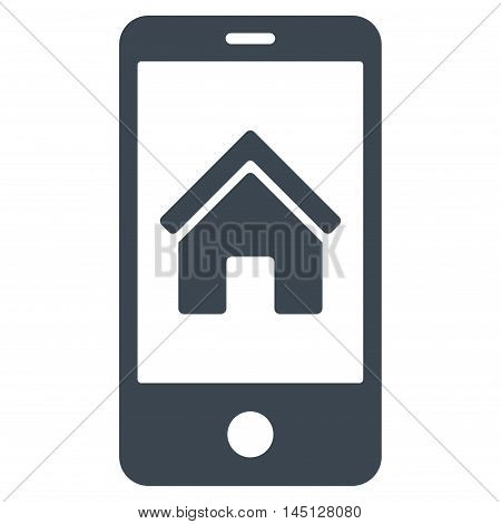 Smartphone Homepage icon. Vector style is flat iconic symbol, smooth blue color, white background.