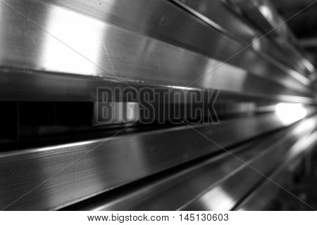 stack of square metal tube for background used