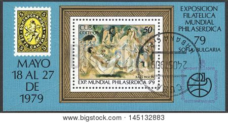 MOSCOW RUSSIA - CIRCA AUGUST 2016: a stamp printed in CUBA shows paintings by Jules Pascin dedicated to the International Stamp Exhibition PHILASERDICA 1979 circa 1979