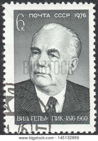 MOSCOW RUSSIA - CIRCA AUGUST 2016: a stamp printed in the USSR shows a portrait of Wilhelm Pieck dedicated to the 100th Anniversary of the Birth of Wilhelm Pieck circa 1976