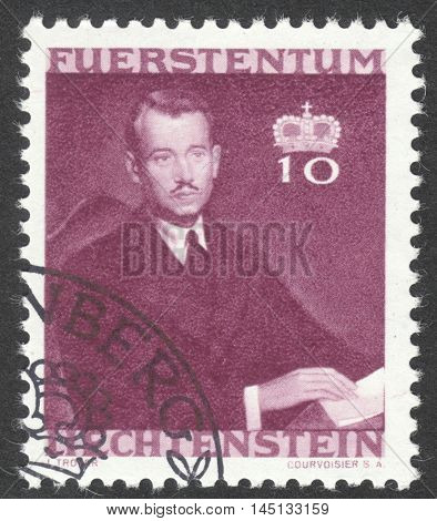 MOSCOW RUSSIA - CIRCA AUGUST 2016: a stamp printed in LIECHTENSTEIN shows a portrait of Prince Franz Josef I the series