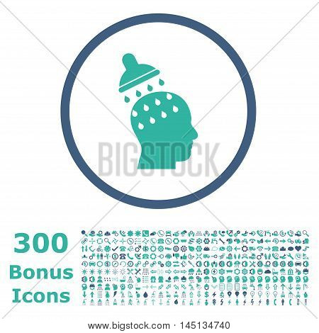 Brain Washing rounded icon with 300 bonus icons. Glyph illustration style is flat iconic bicolor symbols, cobalt and cyan colors, white background.