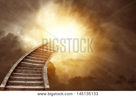 Stairway leading up to heavenly sky poster