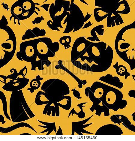 Halloween Characters And Items Seamless Pattern