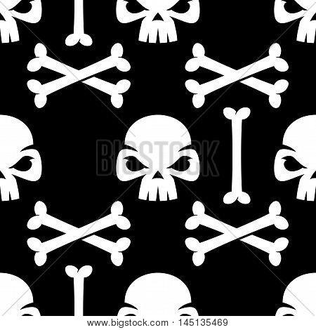 Halloween Skull And Bones Seamless Pattern
