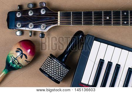Acoustic guitar Percussion Accessories music studio  closeup
