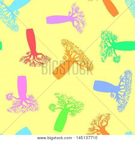 seamless pattern made from hand drawing colorful baobabs