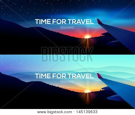 Web Banner with overlooking aircraft wing. Business trip. Time for travel. Web template.