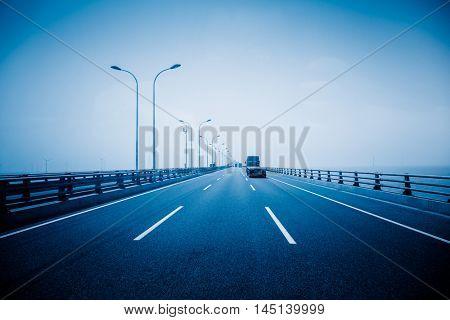 car driving on bridge,shanghai,chona.