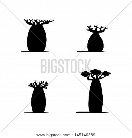 vector set of four hand drawing black baobabs on white background. Vector silhouette of baobabs