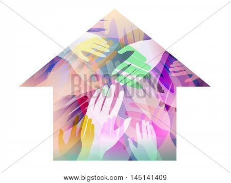 Double Exposure Illustration of Hands Inside a House  - eps10