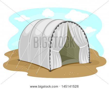 Illustration Featuring a Vacant Tent at a Refugee Camp