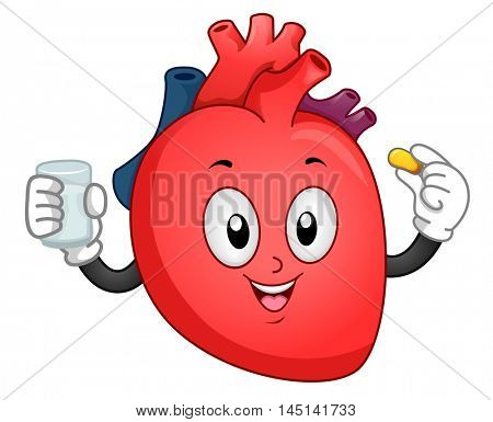 Mascot Illustration of a Heart Taking a Vitamin Supplement