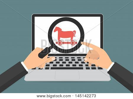 Businessman hands hold a magnifying glass found trojan horse malware computer virus on laptop computer. Vector illustration technology data privacy and security concept.