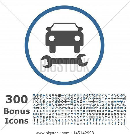 Car Repair rounded icon with 300 bonus icons. Glyph illustration style is flat iconic bicolor symbols, cobalt and gray colors, white background.