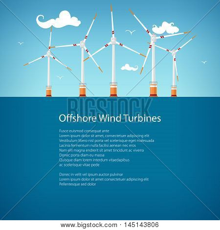 Wind Turbines at Sea, Horizontal Axis Wind Turbines at Sea off the Coast , Offshore Wind Farm, Poster Brochure Flyer Design, Vector Illustration