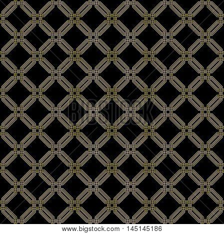 Geometric fine abstract vector octagonal background. Seamless modern pattern with golden octagons