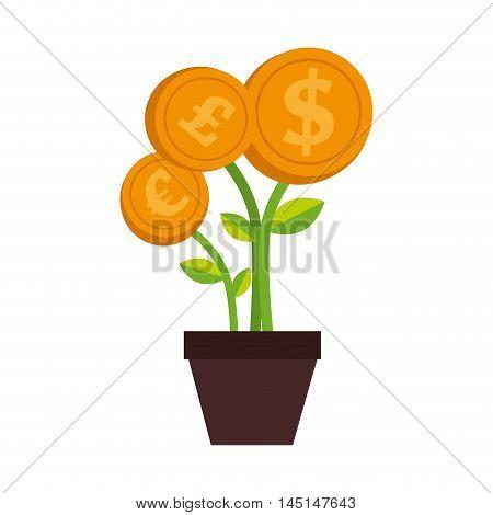 plant money pot dollar isolated vector illustration eps 10