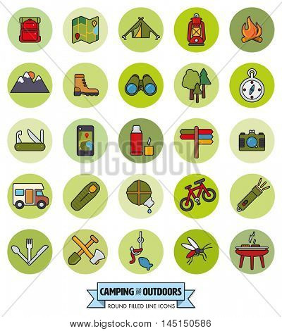 camping, hiking, trekking and outdoor pursuit filled line icons in green circles collection