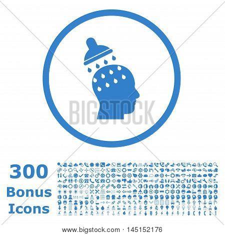 Brain Washing rounded icon with 300 bonus icons. Glyph illustration style is flat iconic symbols, cobalt color, white background.