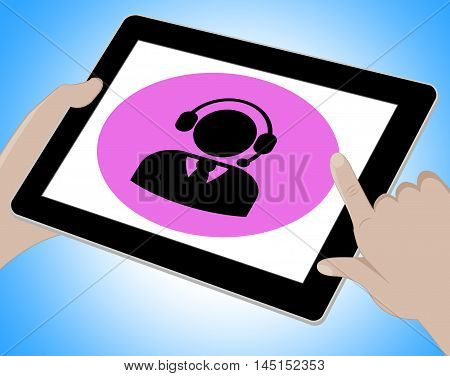 Voip Tablet Shows Voice Over Broadband 3D Illustration