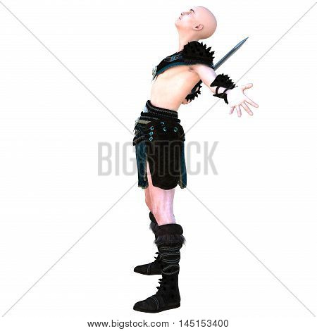 one young bald warrior in the Roman light armor. Barbaric. He's standing in a joyful posture of the winner. Hands are placed in different directions. View from left side. 3D rendering, 3D illustration