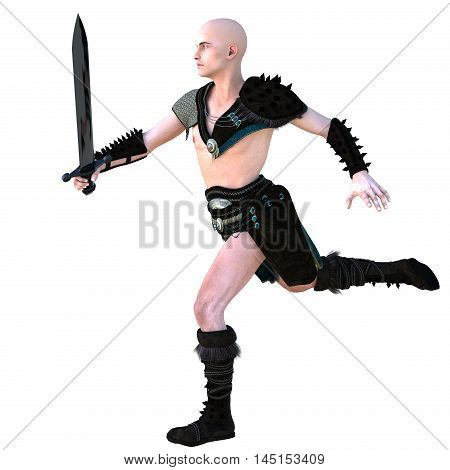 one young bald warrior in the Roman light armor. Barbaric. He runs to the left. Holding an iron sword in his right hand. The view from the left side. 3D rendering, 3D illustration