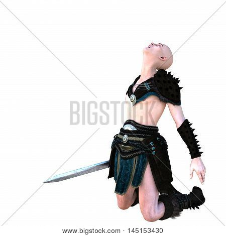 one young bald warrior in the Roman light armor. Barbaric. He is on his knees with his hands down. Screams in horror. The view from the left. 3D rendering, 3D illustration