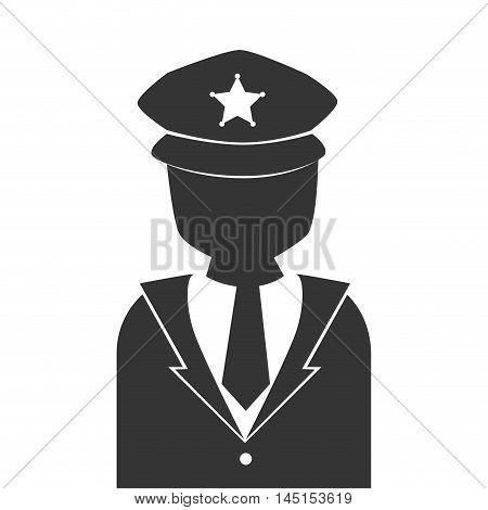 silhouette man police vigilant isolated vector illustration eps 10