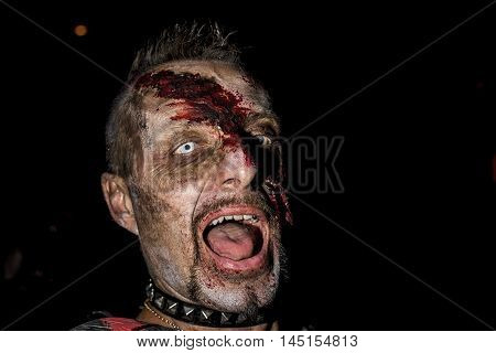 BOLOGNA, ITALY - MAY 21 2016 - Editorial: Zombies at the Bologna Zombie Walk. People dressed as zombies during the parade through the streets of the center of Bologna