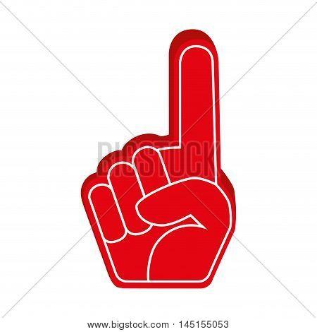 hand foam finger red isolated vector illustration eps 10