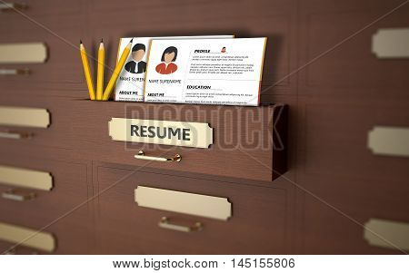 CVs of unemployed people in an office drawer