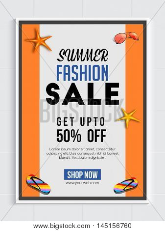 Summer Fashion Sale and Discount, Summer Sale Poster, Fashion Sale Banner, Sale Flyer, Get upto 50% Off.