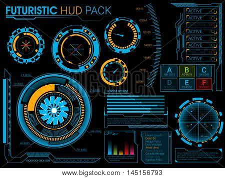 Big set of Futuristic Head Up Display elements, UI HUD Infographic layout, Web UI elements collection, Blue virtual graphic touch user interface.