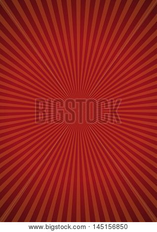 Orange rays on red retro background. Vector sun sunburst pattern. Retro background design.