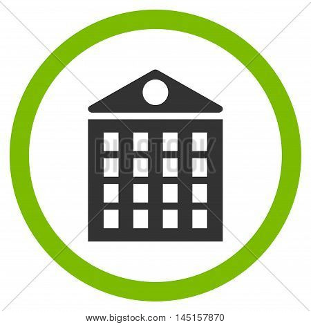 Multi-Storey House vector bicolor rounded icon. Image style is a flat icon symbol inside a circle, eco green and gray colors, white background.