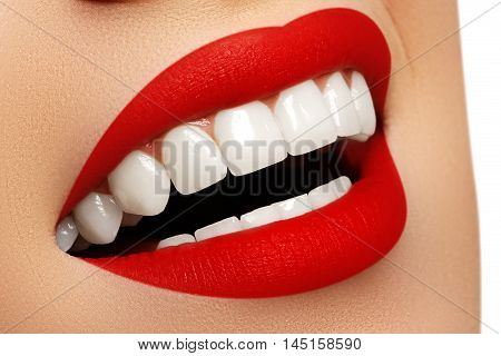 Perfect Smile After Bleaching. Dental Care And Whitening Teeth.
