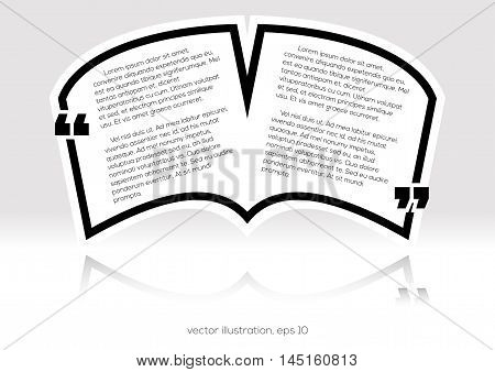 Black textbox quote in book form vector illustration