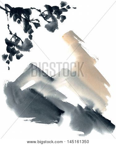 Watercolor and ink abstract chinese landscape - sky mountanis trees. Sumi-e u-sin gohua painting.