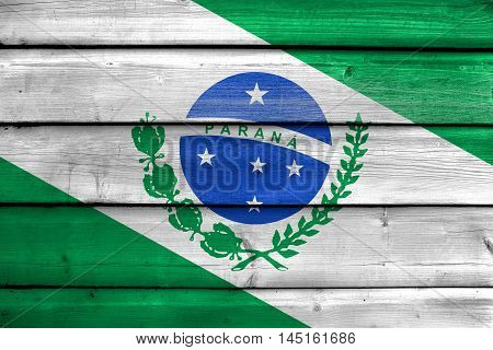 Flag Of Parana State, Brazil, Painted On Old Wood Plank Background