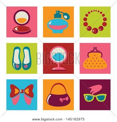Set of woman fashion flat vector icons
