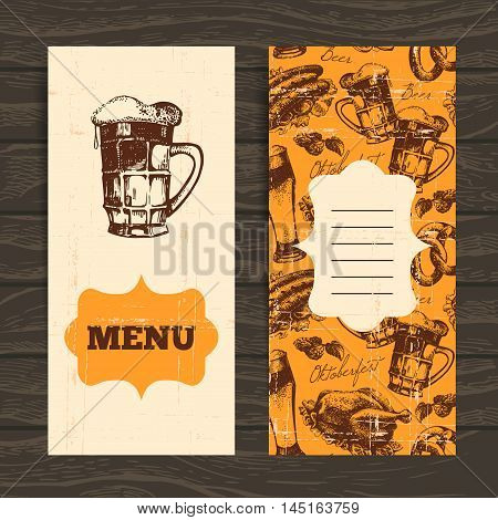 Menu for restaurant, cafe, bar. Oktoberfest vintage background. Hand drawn illustration. Retro design with beer