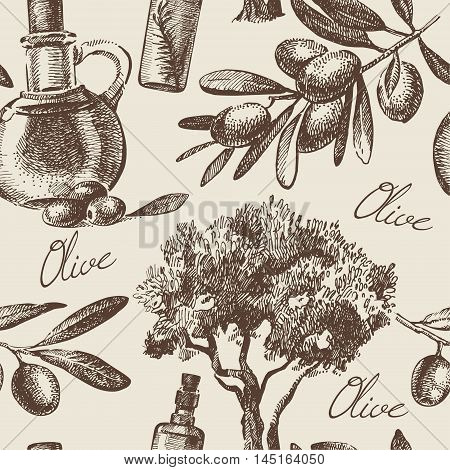 Vintage olive seamless pattern. Hand drawn illustration