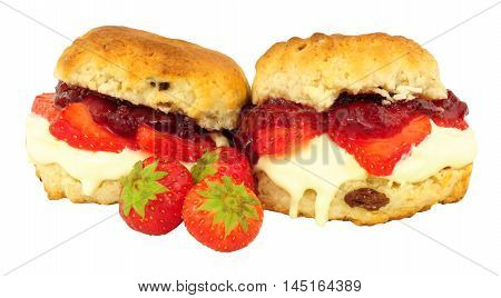 Fresh Strawberry and clotted cream scones with strawberry jam isolated on a white background