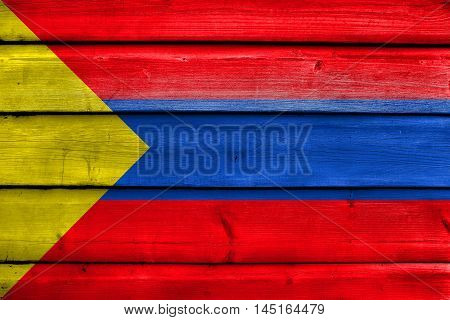 Flag Of Pasto, Colombia, Painted On Old Wood Plank Background
