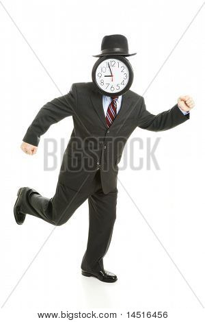 Faceless businessman running late for work.  His face is a clock that reads 8:55 am.  Full body isolated on white.